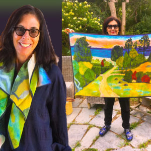 Kate's painting printed on silk scarf